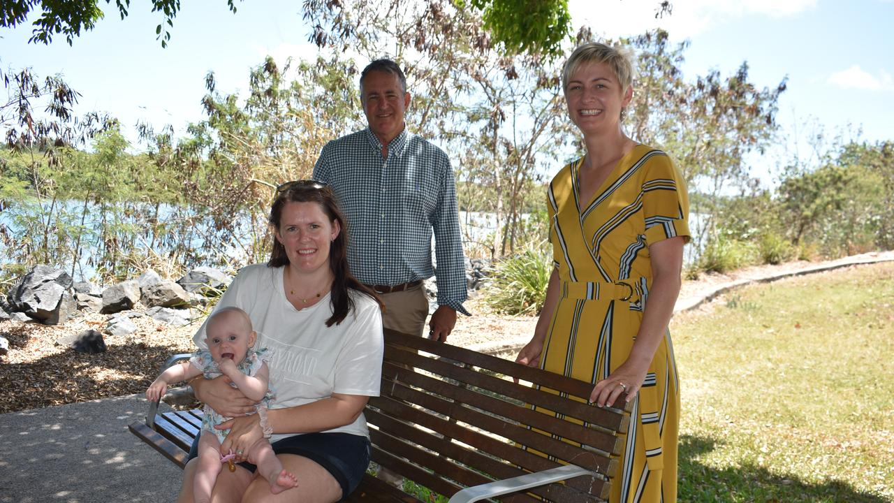 Brooke Hughes and daughter Layla Hughes, with LNP Mackay candidate Chris Bonanno and Whitsunday candidate Amanda Camm. Picture: Melanie Whiting