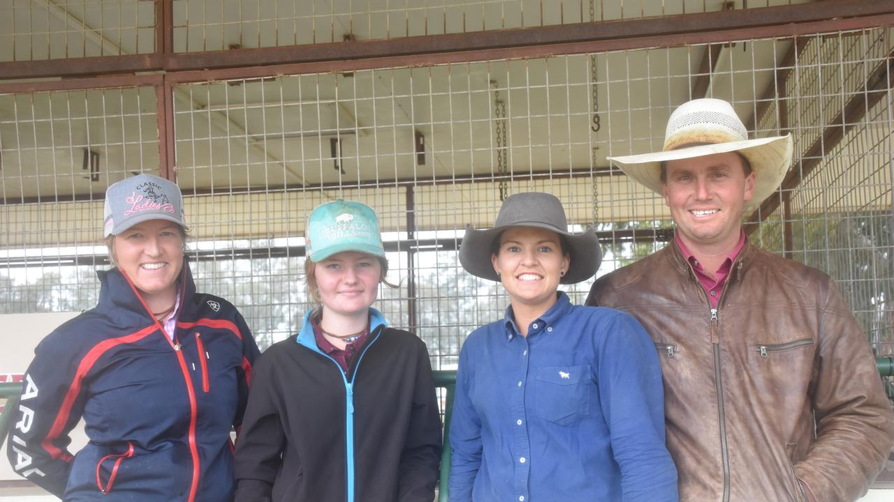 Sally Teynes, Cassie White, Rose Picton, and Joe Maher taking in the action at the Warwick Campdraft.