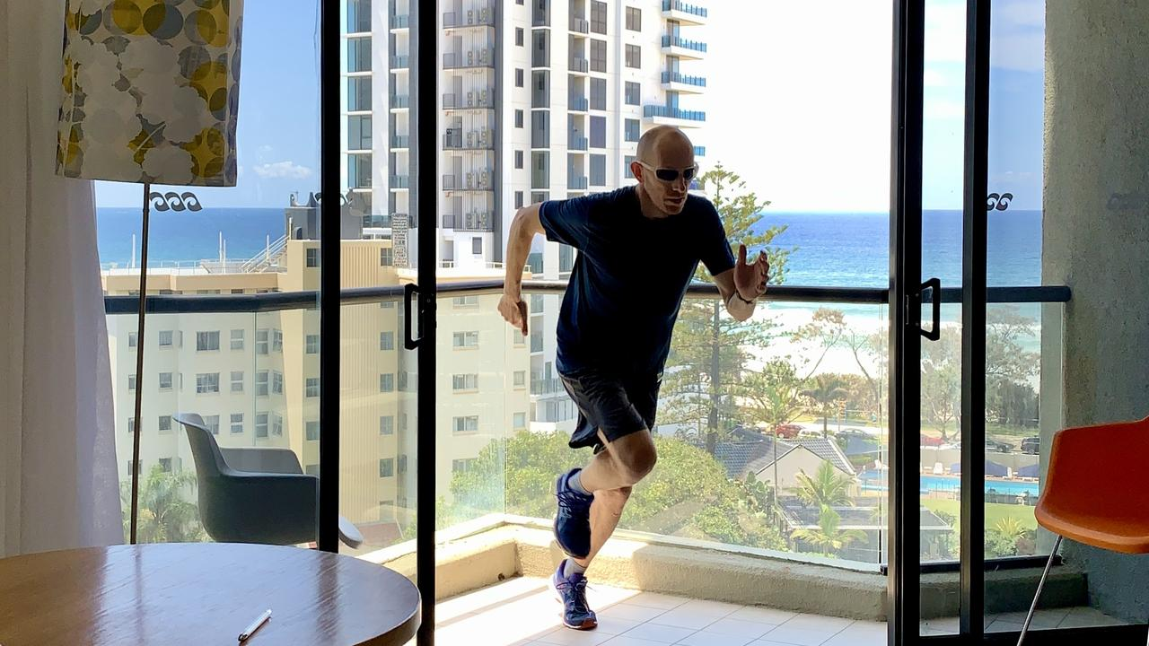 Dimitri Zafiriadis did a marathon while in his room in quarantine at QT Hotel on the Gold Coast. Picture: Supplied.