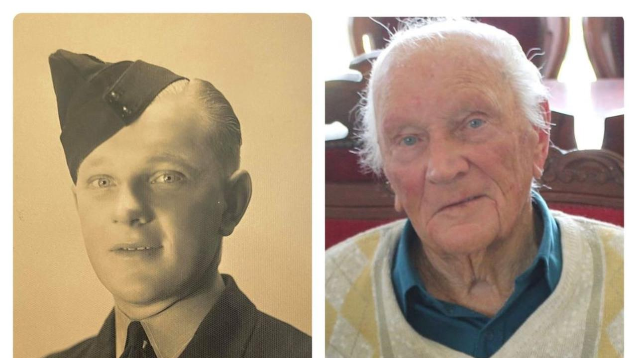 Royal Australian Air Force veteran Keith Sander then and now.