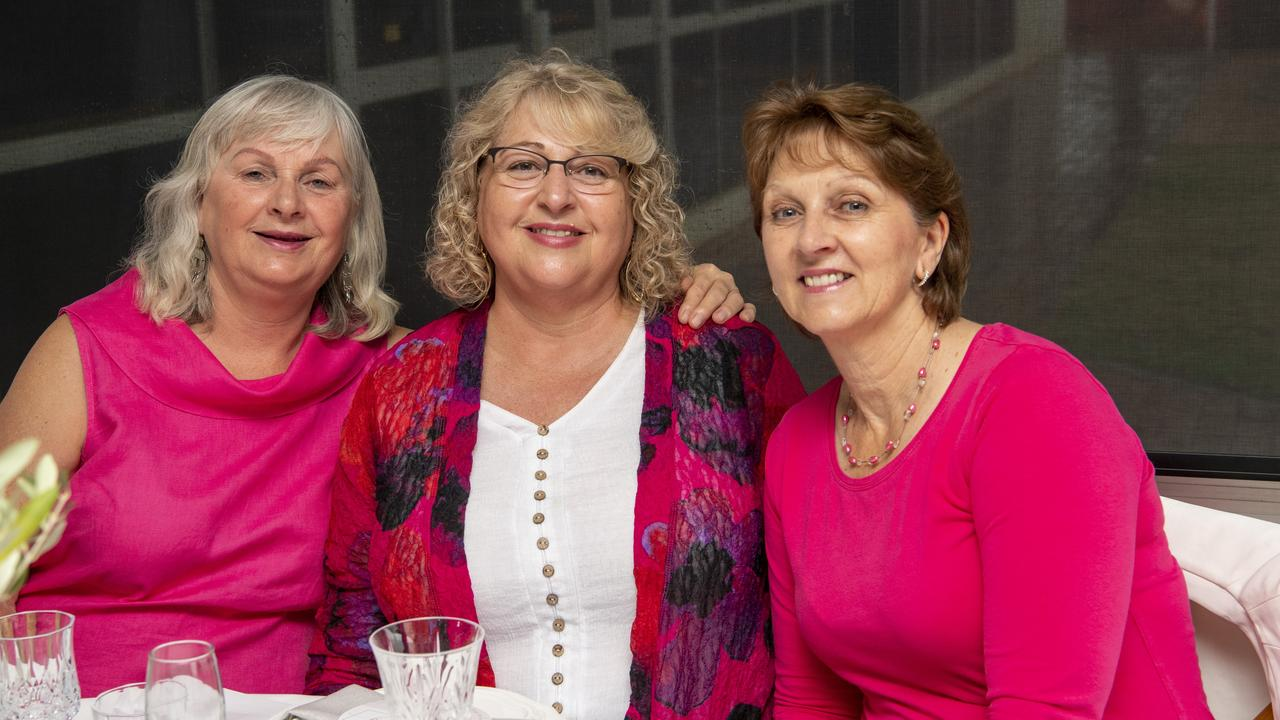 ( From left ) Laurel Nolan, Carolyn Nind and Christine Booth. Breast Cancer High Tea & Bubbles at Club Toowoomba. Saturday. 24th Oct 2020