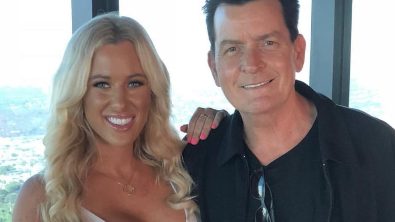 Charlie Sheen with Gold Coast lads mag model Tyana Hansen in Melbourne ahead of shooting their Ultra Tune ad together.