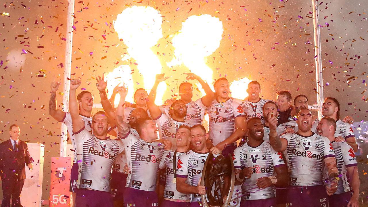 Melbourne Storm celebrate NRL grand final victory.