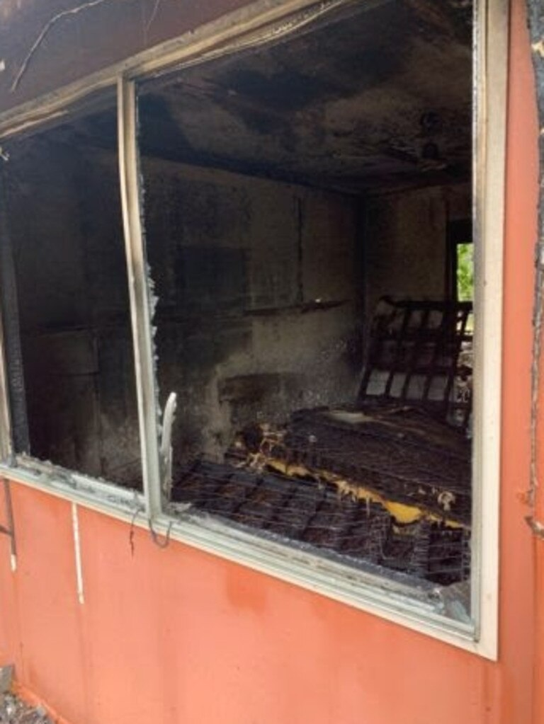 Damage of the arson fire at Great Keppel Island resort on Saturday.