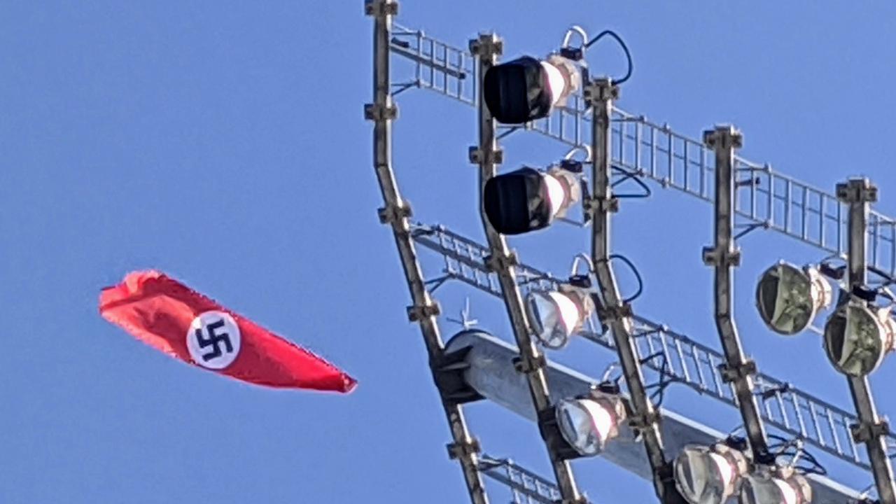A Nazi flag flies in Wagga.