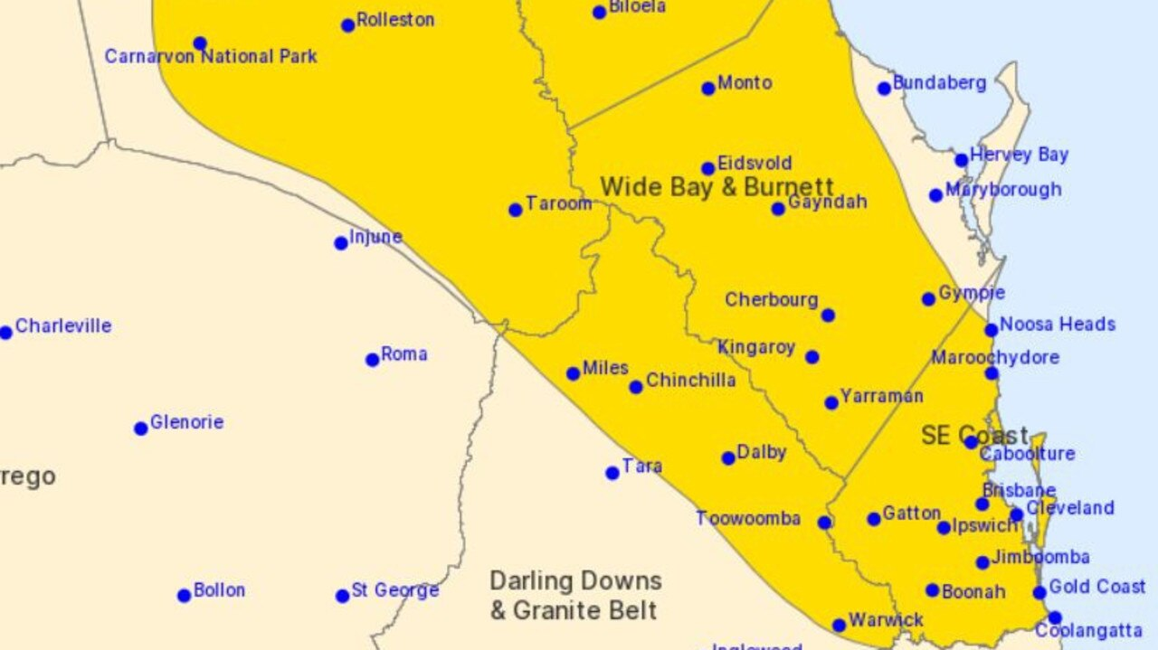 Severe weather warning for southeast Queensland.