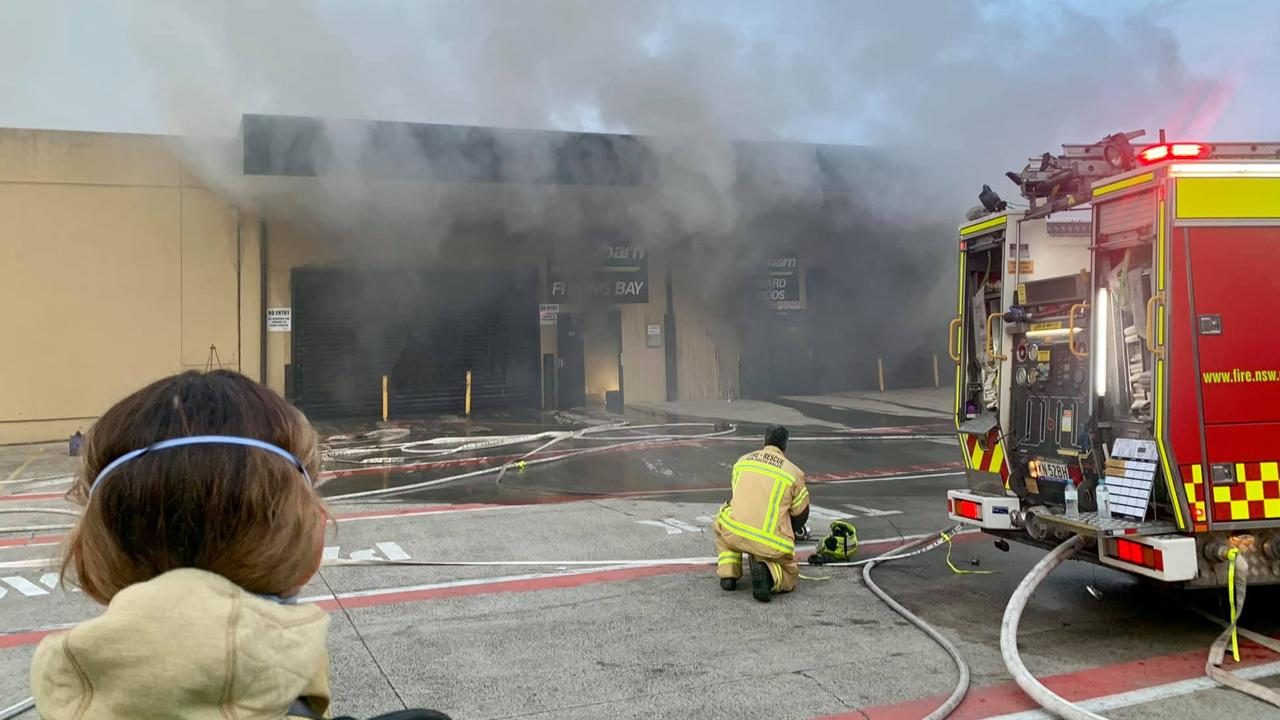 Firefighters attended a blaze at the AutoBarn store on Greenway Drive in Tweed Heads South on Saturday, October 24, 2020.