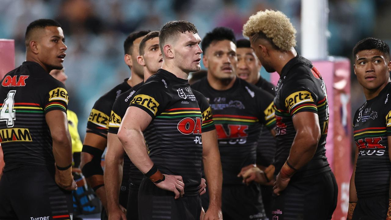 Dejected Panthers during their NRL grand final loss.