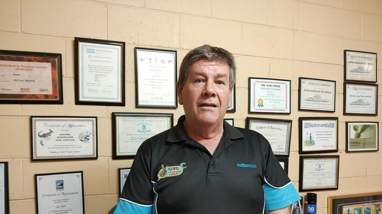 LNP candidate for Gladstone Ron Harding takes extreme pride in the certificates of appreciation on his office wall that illustrate his contribution to the Gladstone region over 25 years. Picture: Rodney Stevens