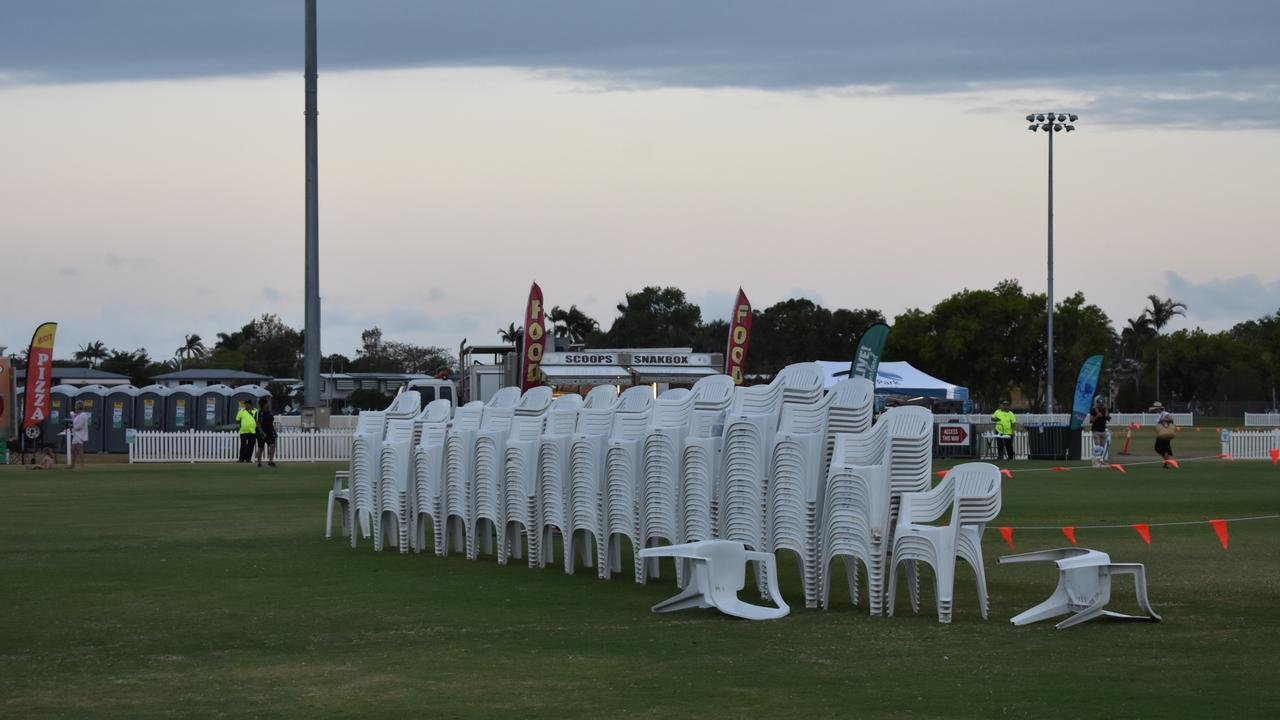 Stacks of chairs were unused as Mackay AFL fans chose to watch the grand final game elsewhere