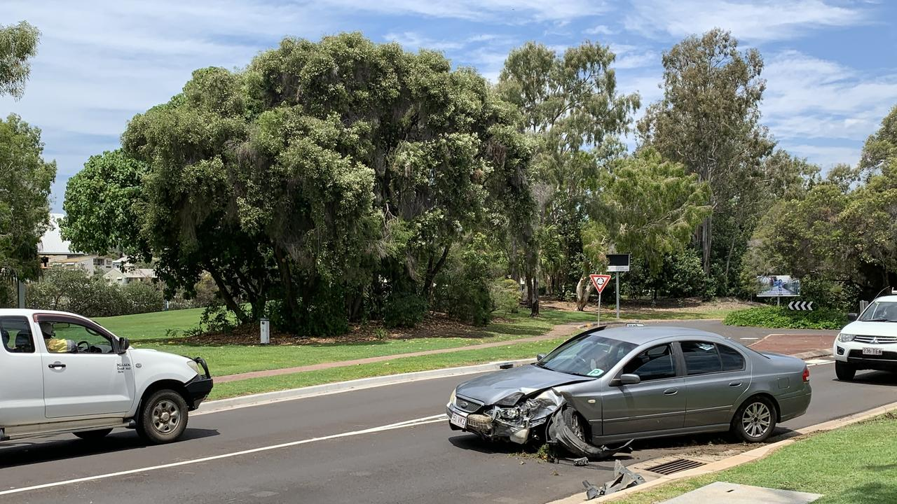ONE lane is blocked at the Gladstone Marina after a car crash this morning.