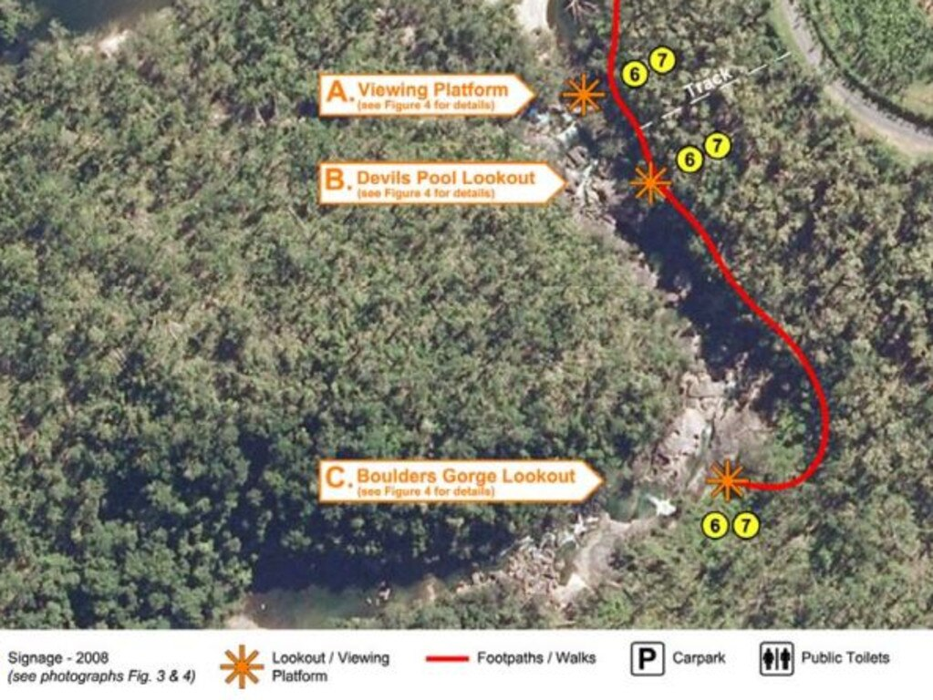 An aerial shot of the Babinda Boulders area. Picture: Coroner's Report (James Bennett inquiry)