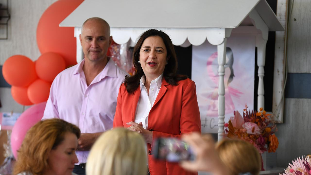 GLADSTONE , AUSTRALIA - NewsWire Photos - OCTOBER 14, 2020. Queensland Premier Annastacia Palaszczuk and the Member for Gladstone Glenn Butcher attend a Pink Ribbon breakfast in Gladstone while on the election campaign trail. Queenslanders go to the polls on October 31. Picture: NCA NewsWire / Dan Peled