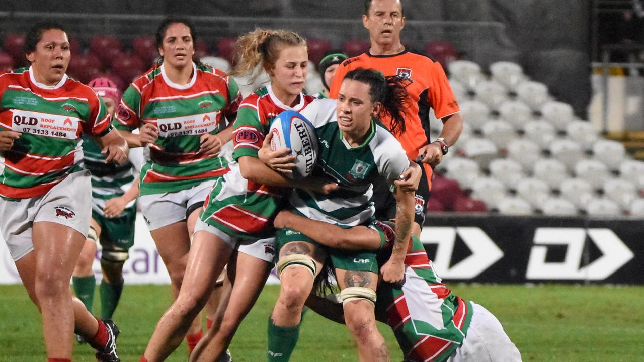 The Ipswich Rangers women displayed plenty of tenacity in the rugby grand final against Redlands played in the pouring rain at Ballymore. Picture: Gary Reid