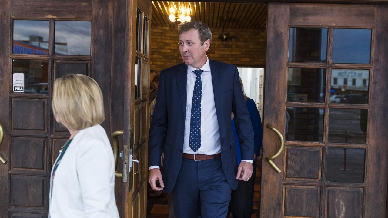 LNP president Cynthia Hardy and successful candidate Garth Hamilton leave the Groom LNP preselection vote. Picture: Kevin Farmer