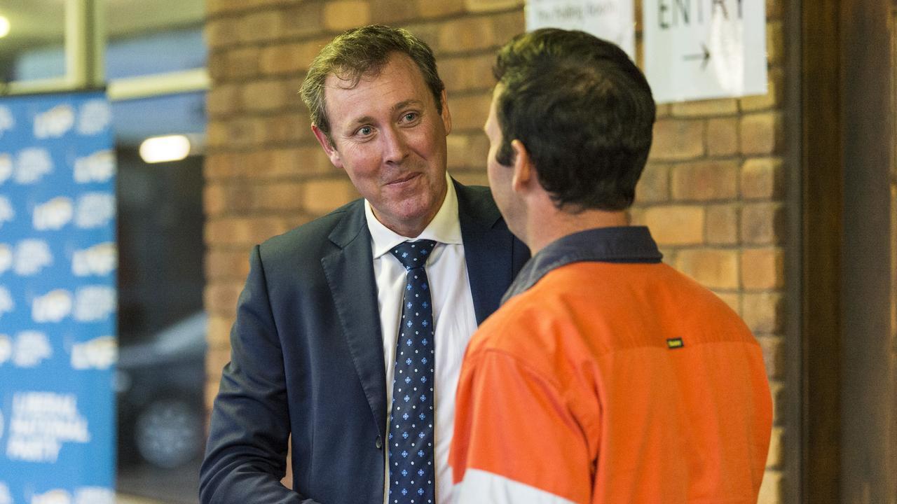 Groom LNP preselection winning candidate Garth Hamilton (right) talks to Senator Matt Canavan. Picture: Kevin Farmer