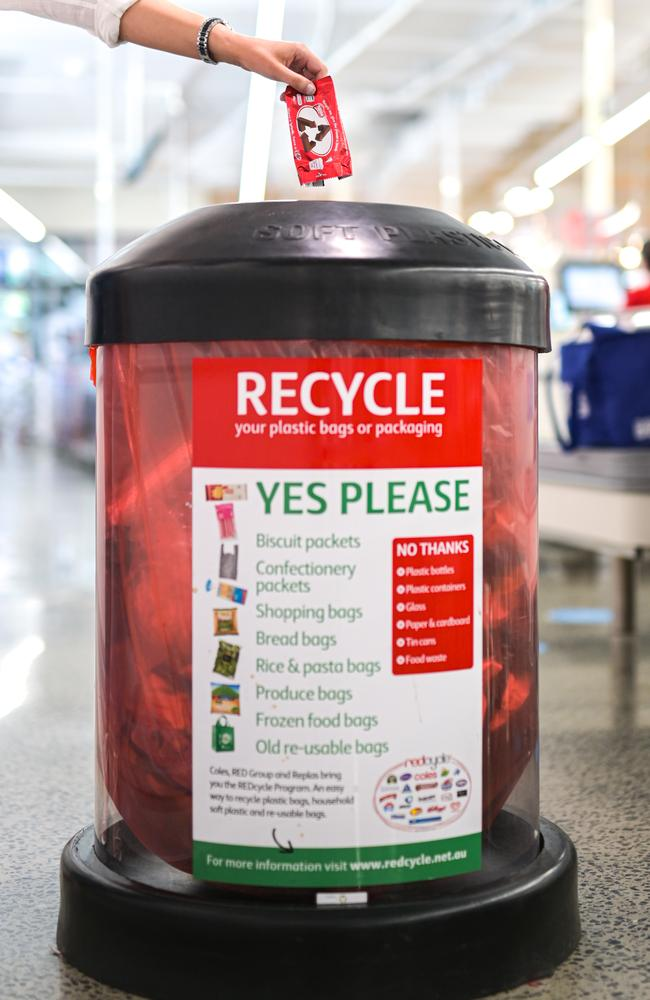 By changing the logo temporarily, it wants to remind Aussies to recycle wrappers at REDcycle collection bins, located in most major supermarkets.