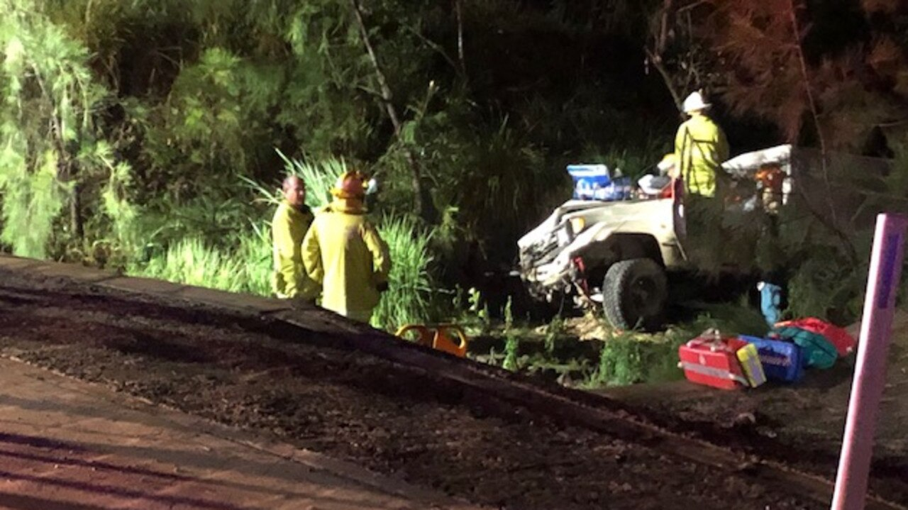 Emergency services at the scene of a single-vehicle crash on Cobraball Rd last night. Picture: RACQ Capricorn Rescue