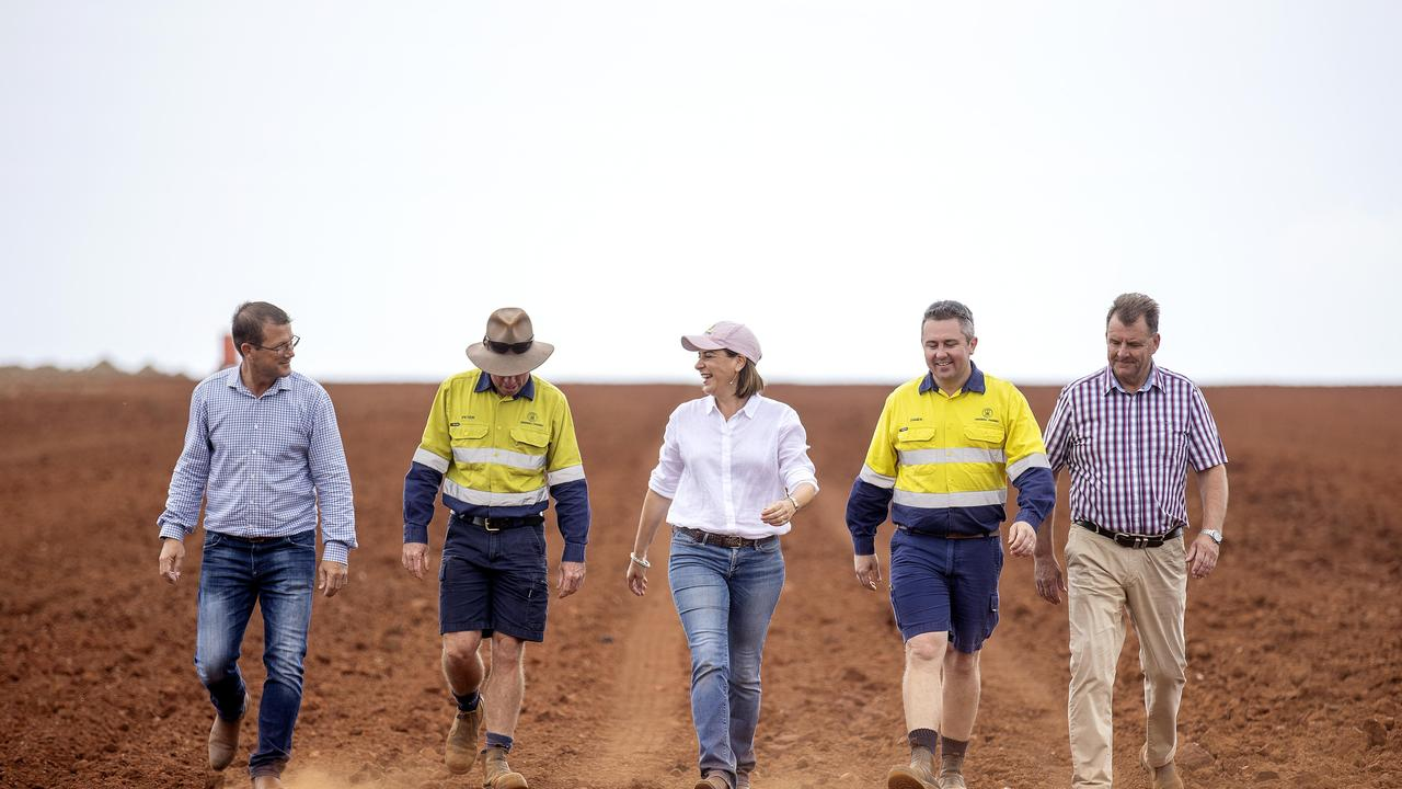 Queensland opposition LNP leader Deb Frecklington visits Greensill Farming in the Wide Bay- Burnett region as part of her promise to provide more dams so farmers in the region have more access to water. (Picture: Sarah Marshall)