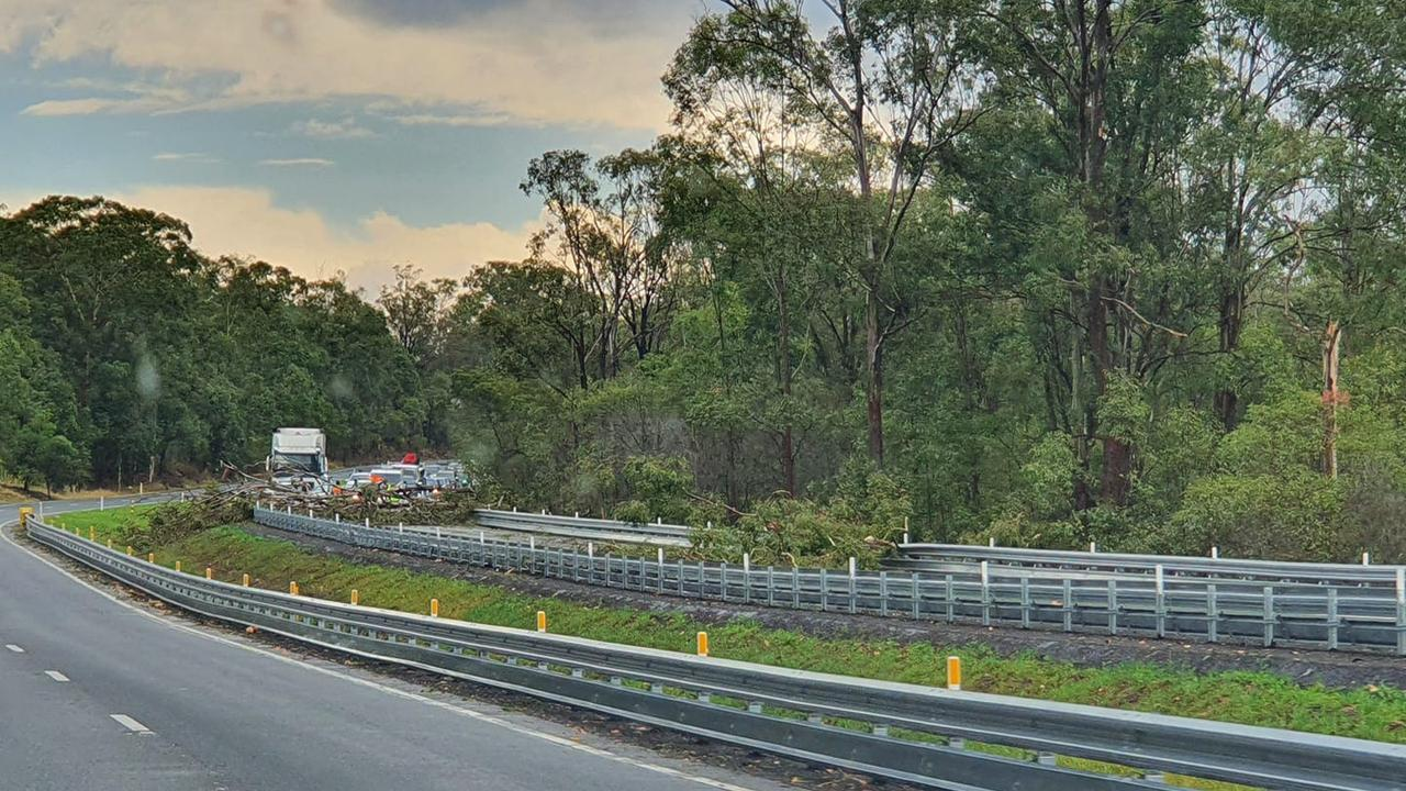 Fallen trees block east bound lanes of Warrego Highway near Kholo Rd exit October 25.