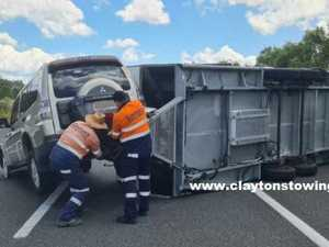 Caravan crash causes Bruce Hwy delays