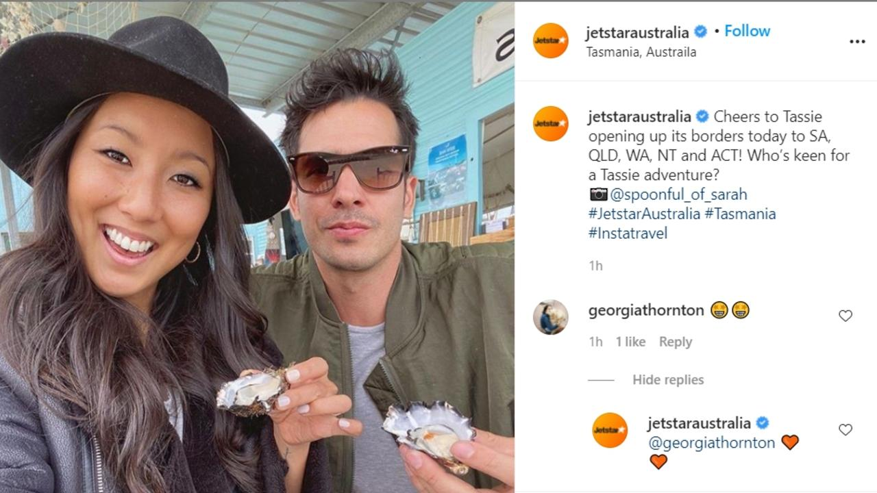 Jetstar posts shot of influencer Sarah Davidson eating oysters in Tasmania just days after #OysterGate controversy with Ruby Matthews. Picture: Jetstar, Source: https://www.instagram.com/p/CGy4jiUjWEP/