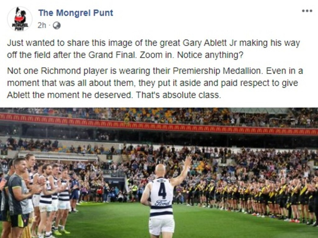 A Facebook post on The Mongrel Punt.