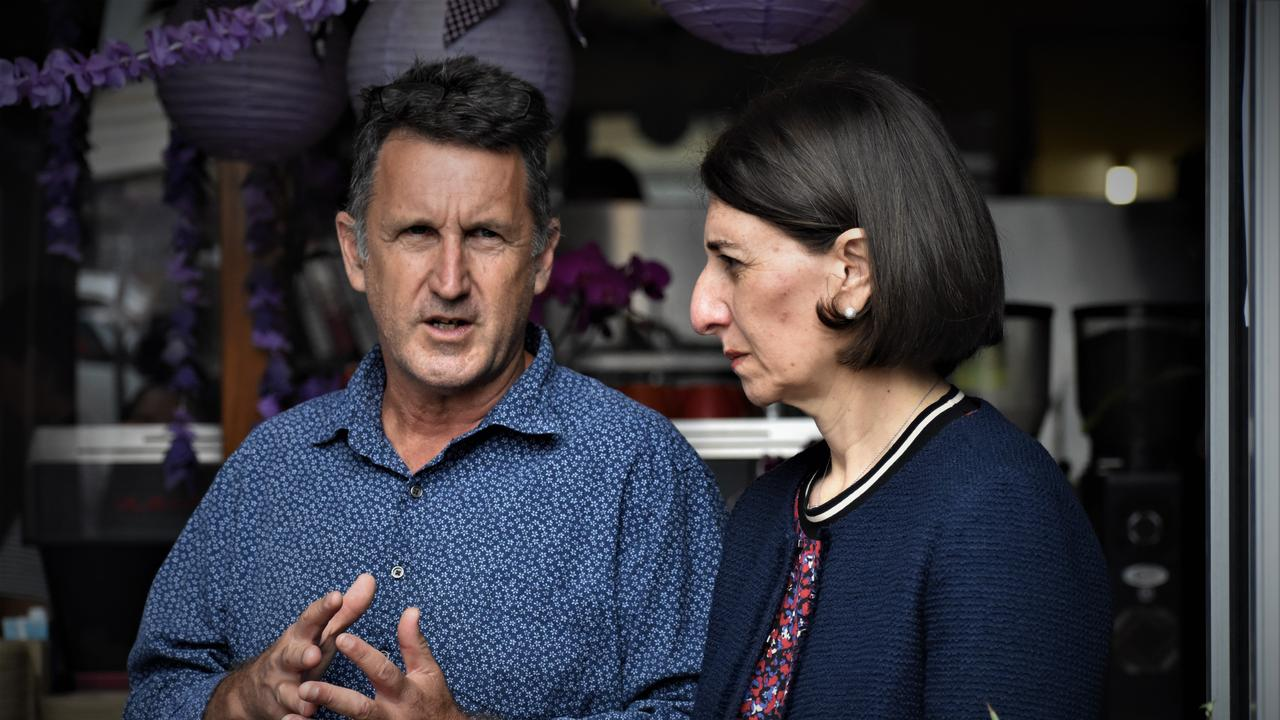NSW Premier Gladys Berejiklian in conversation with Toast Espresso Cafe owner Mark Hackett at Grafton on Monday, 26th October, 2020. Photo: Bill North / The Daily Examiner