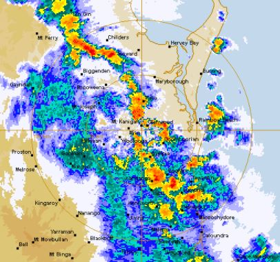 Rain is now soaking the Sunshine Coast. Photo: Bureau of Meteorology