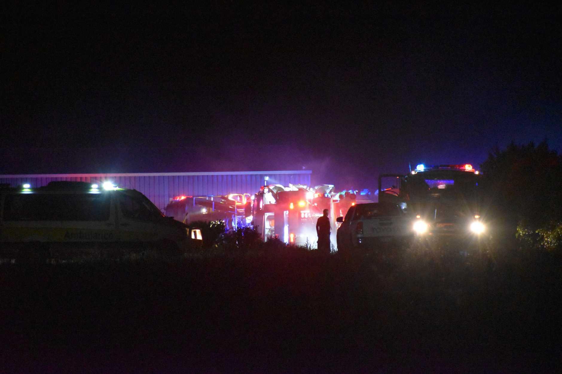 RE-IGNITED: Crews back on scene on Bargara Rd tonight.