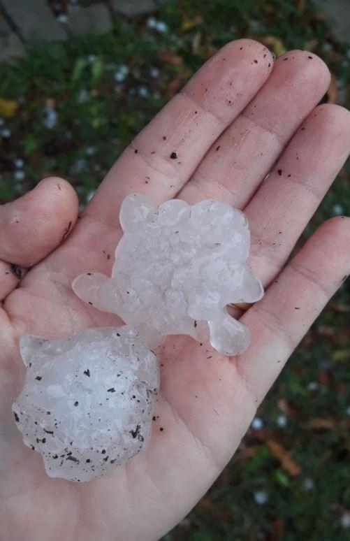 Hail near Cooyar. Picture: ABC Brisbane.