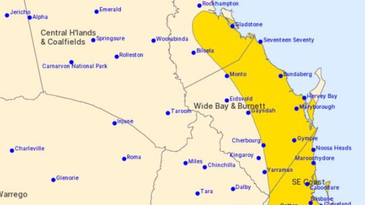 Bundaberg highlighted in BoM's weather warning.