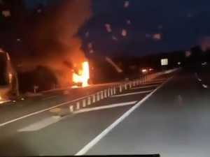 Truck bursts into flames on Bruce Highway at Cooran