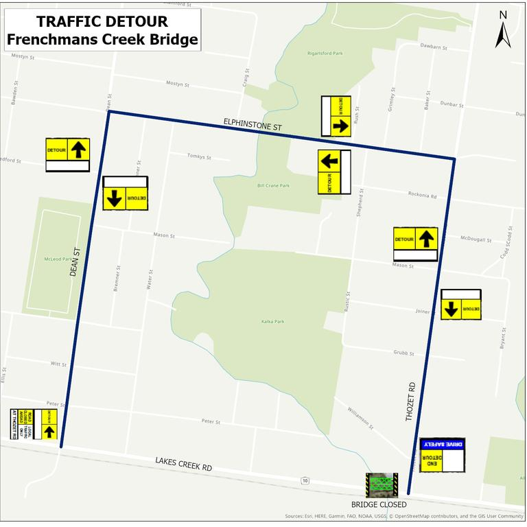 Detour map for general traffic. Picture: Contributed