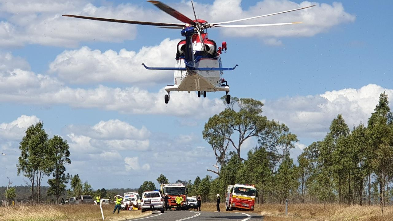 A rescue chopper leaves the scene with one of the patients. Photo: Frances Klein