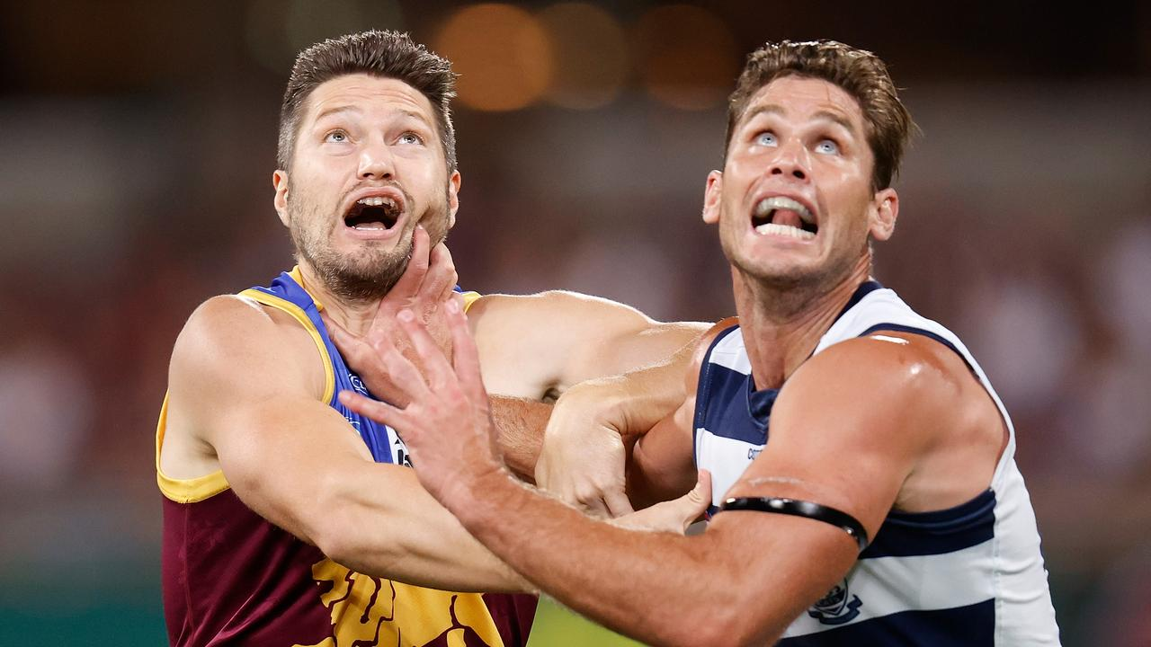 Lion Stefan Martin, left, struggled with injury this year. Picture: Michael Willson/AFL Photos