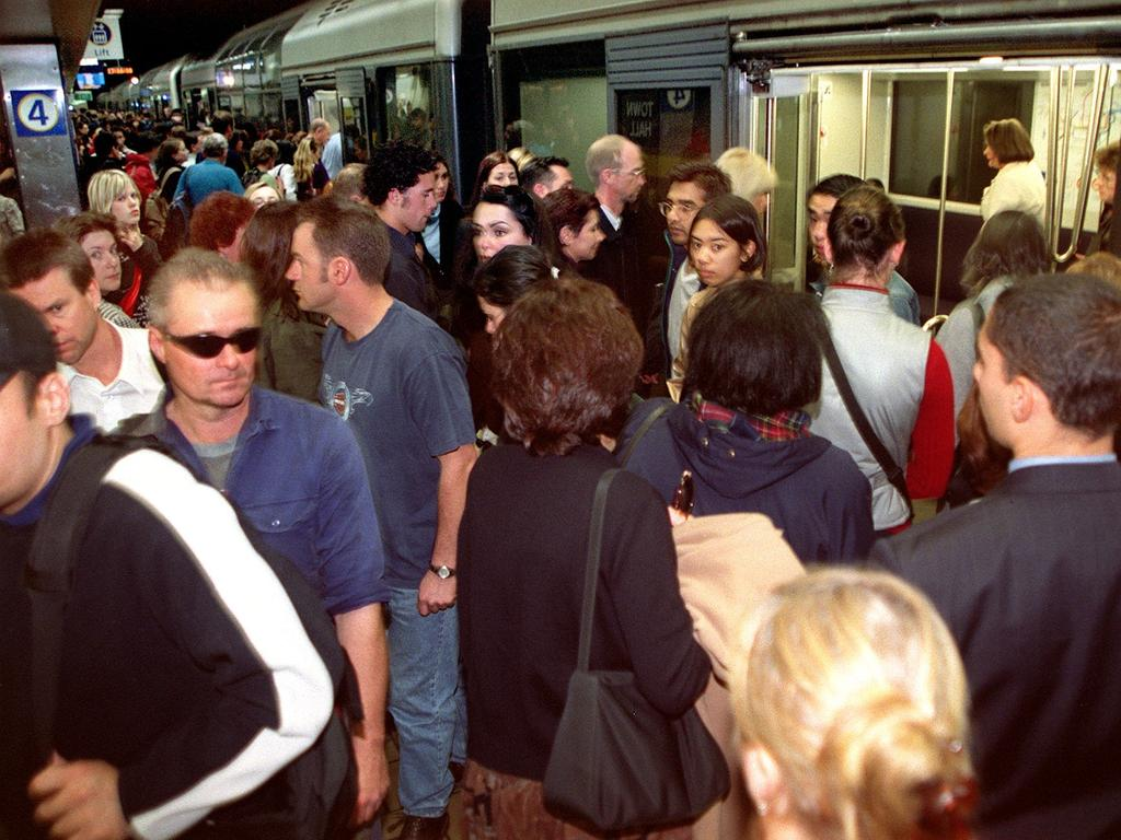 Commuters at a crowded Town Hall railway station in Sydney. Picture: Sam Ruttyn