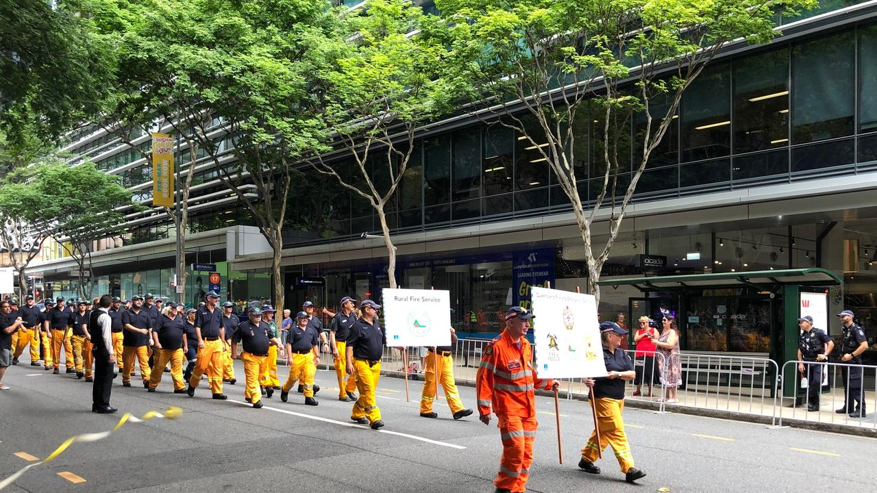 The bushfire relief ticker-tape parade in Brisbane for firefighters, defence forces, emergency services, wildlife carers and volunteers who provided relief efforts during the 2020 bushfires. Picture: Mark Cranitch