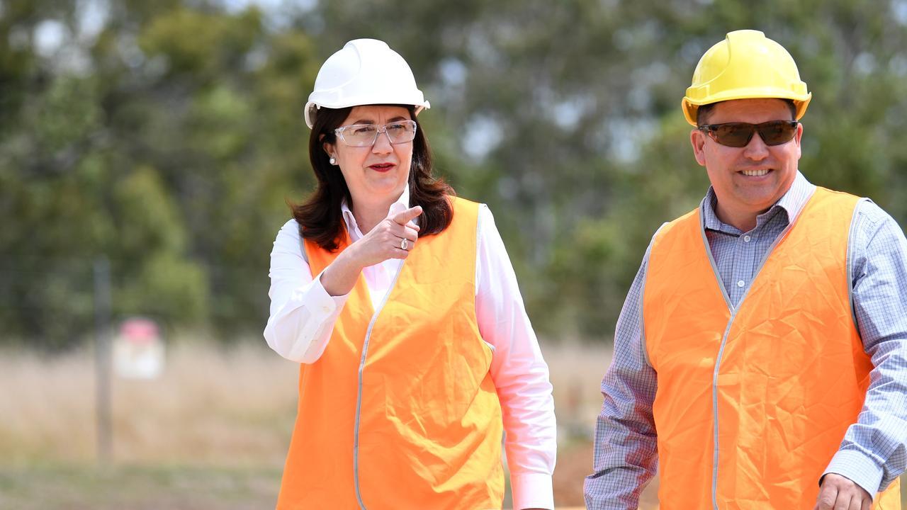 Queensland Premier Annastacia Palaszczuk and Gladstone Mayor Matt Burnett. Picture: NCA NewsWire / Dan Peled