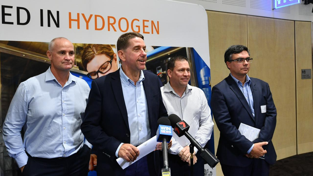 Gladstone MP Glenn Butcher, Minister for State Development Cameron Dick, Gladstone Mayor Matt Burnett and Australian Gas Infrastructure Group advisor Vikram Singh at the Gladstone Hydrogen Forum at the convention centre.