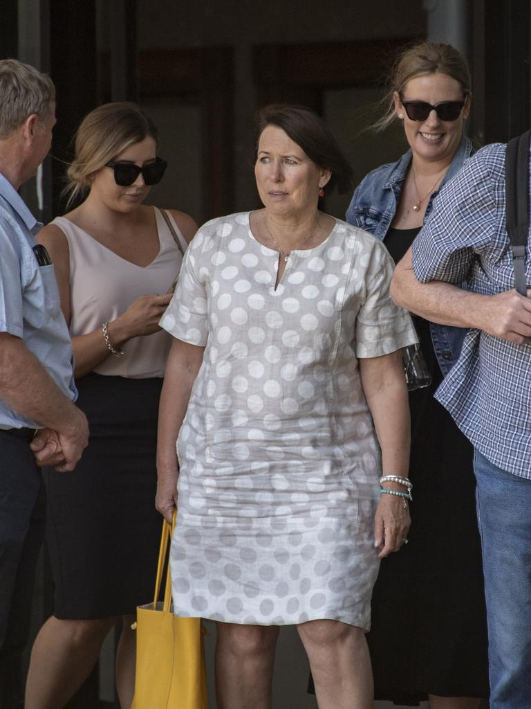 The mother of Tom Davy outside Cairns Magistrates Court. Picture: Brian Cassey