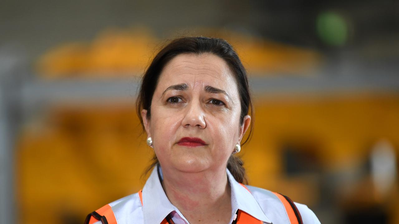 Queensland Premier Annastacia Palaszczuk speaks during a visit to De Goey Contractors (DGC) which refurbishes mining equipment, in Mackay, as she campaigns ahead of the October 31 state election. Picture: NCA NewsWire / Dan Peled