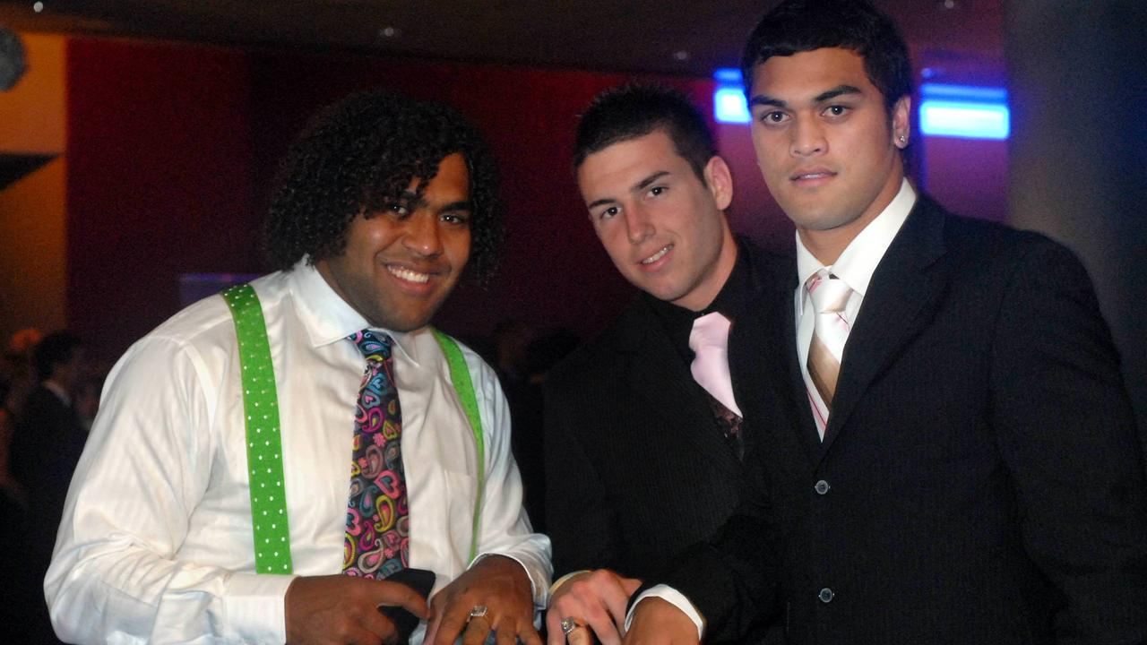 Sam Thaiday, Darius Boyd and Karmichael Hunt with their premiership rings at the Broncos 19th Annual Presentation Ball in 2006. Picture: Jodie Richter