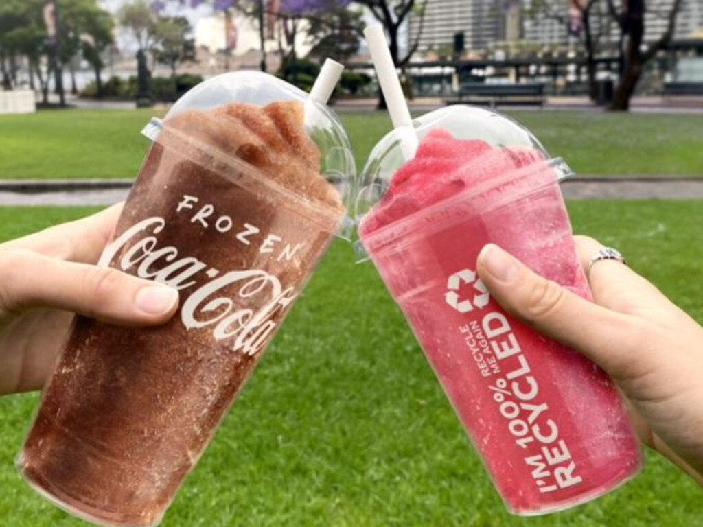 The new Coca Cola freezer cups that will be recyclable. Picture: Supplied