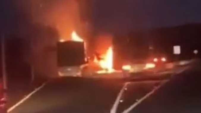 Semi-trailer bursts into flames on Bruce Hwy