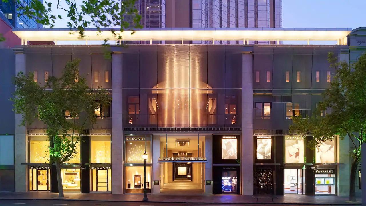The luxury Grand Hyatt hotel in Melbourne on Collins Street.
