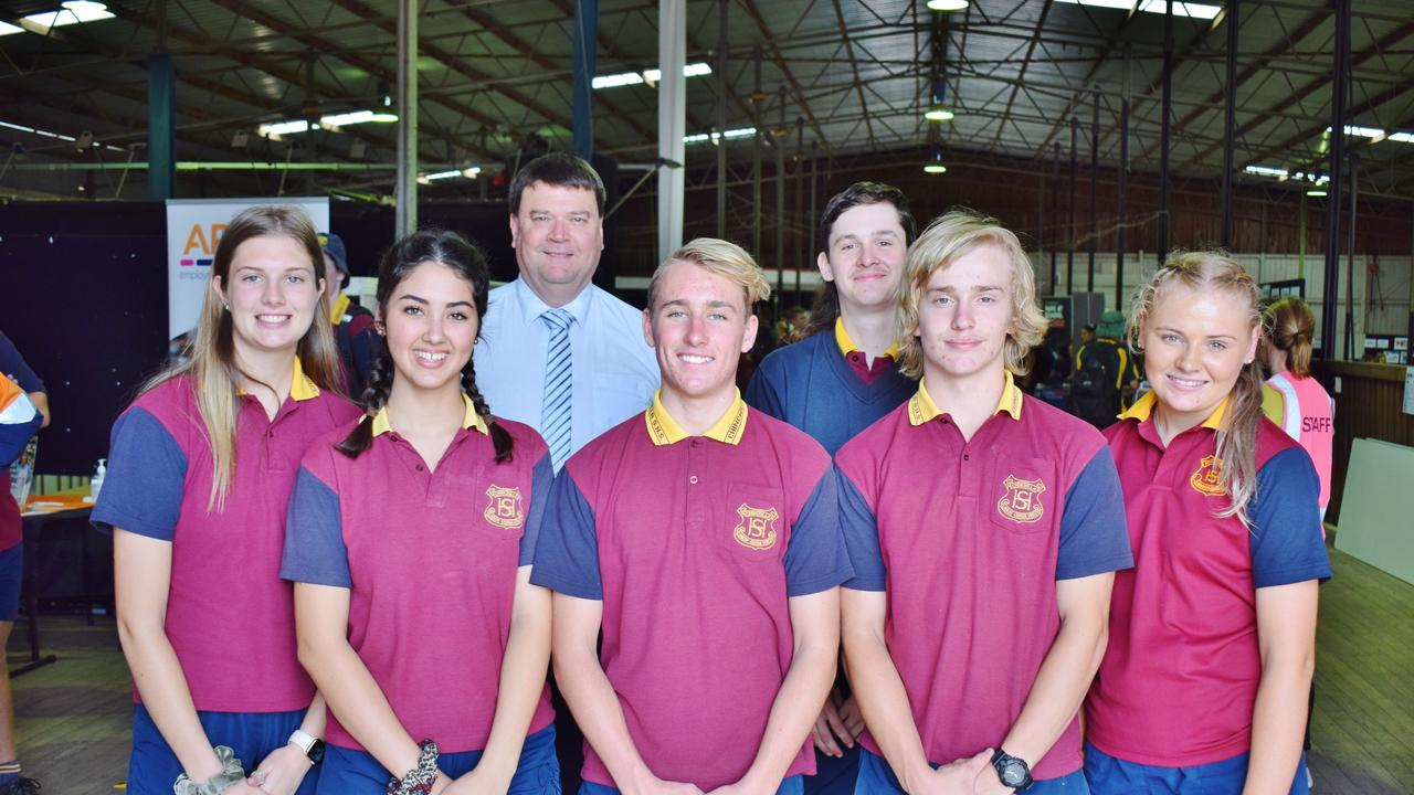 BRIGHT FUTURES: Chinchilla State High School principal Ian Insley with a group of students at the Western Downs Careers Expo in Chinchilla, on Thursday October 22, 2020. Pic: Peta McEachern