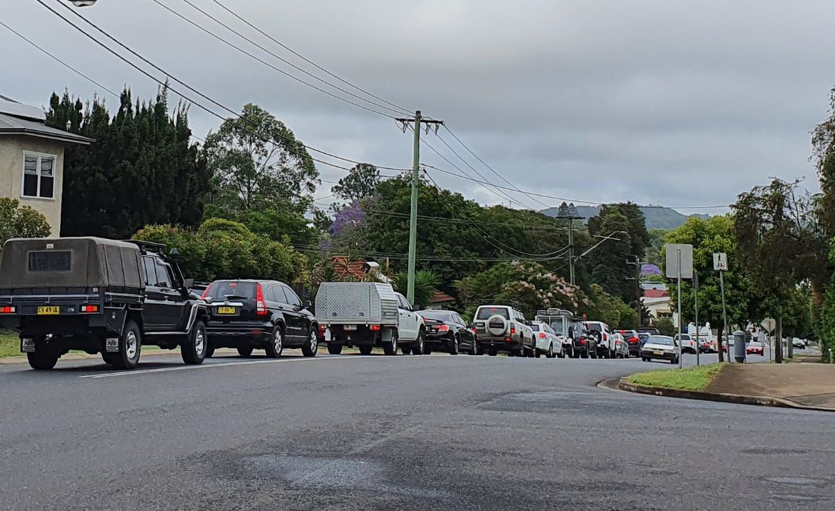 Traffic is backed up on Wyrallah Rd, East Lismore, after a crash this morning.