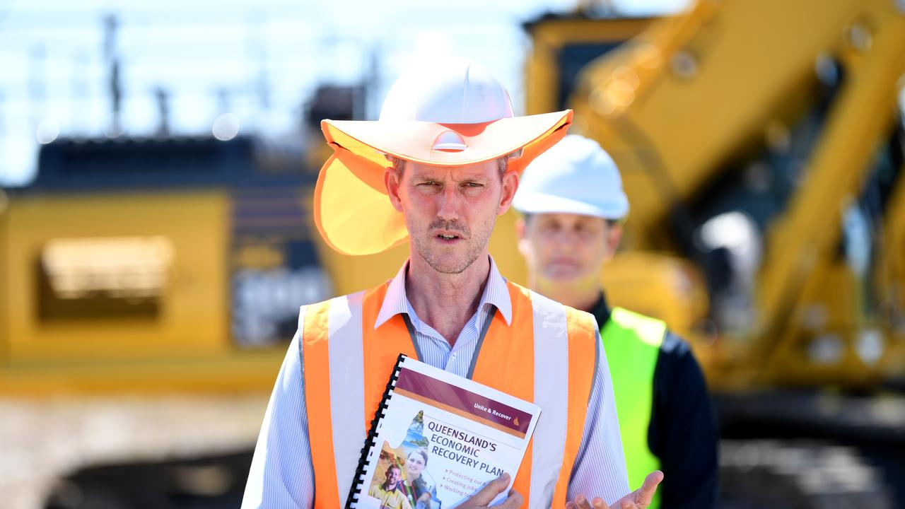 Queensland Transport Minister Mark Bailey spoke at a press conference during a visit with Premier Annastacia Palaszczuk to Aura. Picture: Dan Peled