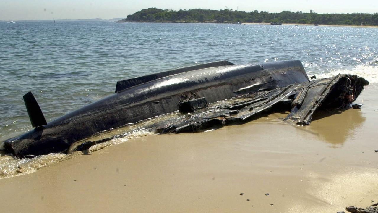 The remains of a burnt-out catamaran that caught fire in 2001. Picture: Tracee Lea